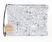 Doodle Town Zipper Pouch | Original Fabric Design