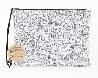 Doodle Town Zipper Pouch | Original Fabric Design