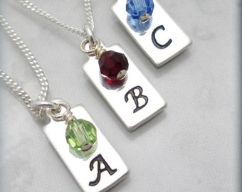 Silver Initial Necklace Birthstone Jewelry Personalized Charm Jewelry Handstamped Sterling Silver (SN824)