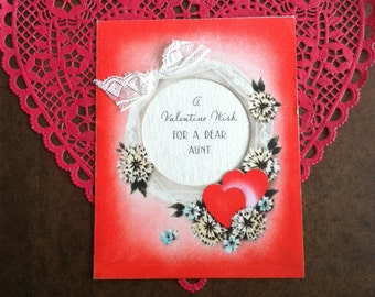 Vintage Valentine Card 1930s For a Dear Aunt