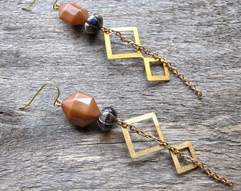 Earrings - Vintage Beaded Chandelier 1970s Geometric Wood Lucite Brass Charm Chain