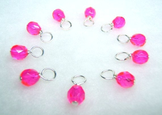Pink Lemonade Stitch Marker Droplets (Mini or Small - Set of 10)