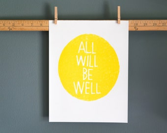 All Will Be Well print - Sunshine Yellow
