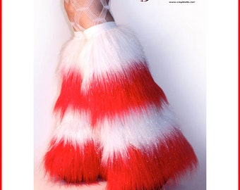 Sparkle Christmas Fluffies Rave Wear Red White Furry Leg Warmers