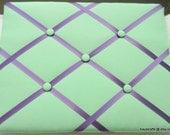 Green Memory Board French Memo Board, Fabric Ribbon Memo Bulletin Board, Fabric Photo Board, Fabric Pin Board, Bedroom Decor