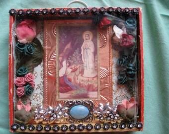 Lourdes and Saint Bernadette Shrine/Altar/Shadow Box/Diorama - Featuring Vintage Prayer Card of Lourdes and Bernadette in Grotto - Handmade