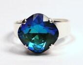 Swarovski Crystal Cocktail Ring Luminous Green Emerald Peacock Sapphire Blue Ocean Metallic Diamond Sparkle Solitaire You Choose Finish Cube