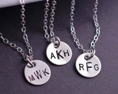 Monogram Necklace, Sterling Silver Personalized Necklace, Monogrammed Gift, Bridesmaid Necklaces