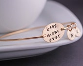 Gold Best Mom Ever Bracelet, Mother Jewelry, Gold Mothers Bracelet, Mother's Day Gift Idea