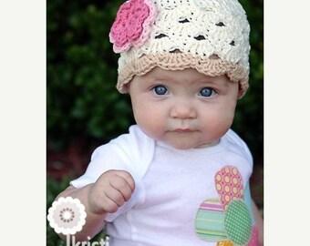Crochet Baby Hat, Baby Girl Hat, Newborn Beanie, Baby Girl, Off White Beige Pink, Newborn Hat, Newborn Prop, Ready to Ship, Baby Girl Beanie