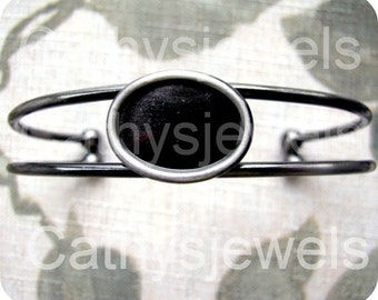Gunmetal Grey Bracelet Blank Setting for a 18x13 Cameo or Cab
