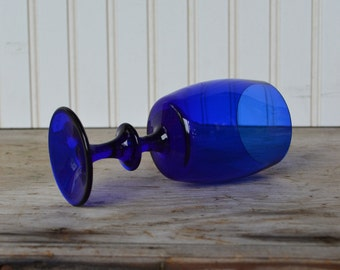 Vintage Cobalt Blue Glass Goblet, Cordial,