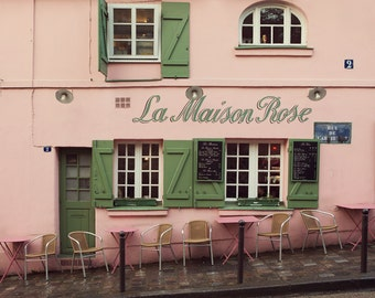 La Maison Rose - Pink Paris Cafe in Montmartre, Bistro, Romantic Paris Photography, Pastel, Chairs, Tables, Green Shutters, Restaurant