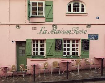 La Maison Rose - Paris Print, Pink Paris Cafe in Montmartre, Bistro, Romantic Paris Photography, Pastel Art, Chairs, Restaurant