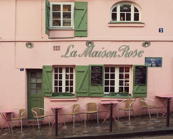 La maison rose paris print pink paris cafe in montmartre for La maison du cafe paris