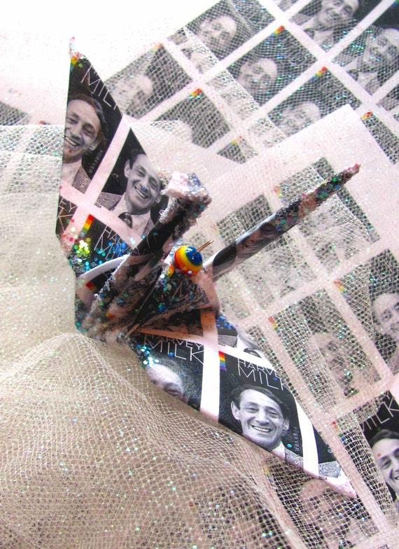 Harvey Milk Forever Stamp Peace Crane Bird Wedding Cake Topper Party Favor Origami Christmas Ornament Paper Japanese  Anniversary Decoration