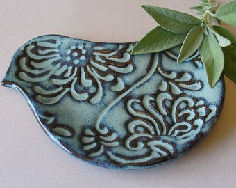 Pottery Bird Plate - Bird Shaped Spoon Rest - Ceramic - Blue Bird - Soap Dish - Trinket Dish
