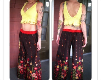 Wide Leg/Flow Pants and Up-Cycled Matching Top,Skirted Pants,Pixie Clothing,Festival Clothing,Gypsy Clothing,Flared Pants, Hoop pants, Eco