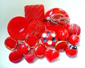 Neat Lot of Various Red Vintage Glass Buttons