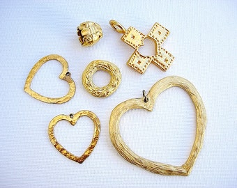 Lovely Lot of Various Vintage Heart Pendants and Jewelry Components