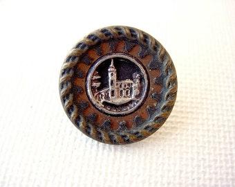 Antique-Vintage Metal Pictorial Button