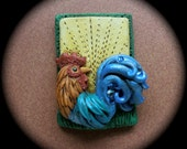 Dandy Rooster pin/pendant by darbella in Polymer clay