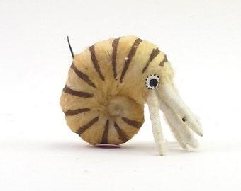 Spun Cotton Vintage Inspired Nautilus Ornament/Figure