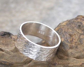 Wide Silver Band Ring, Hammered or Textured Unisex Ring, 8 mm wide