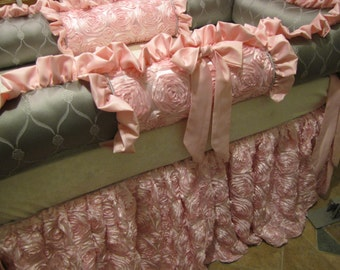 Luxury Crib Bedding Set Pinks and Grey Custom Bedding for Nursery