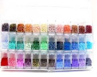 180 gr Miyuki DELICA Mix 11/0 Japanese Seed BEADS in Clear Organizer Storage Box with Flip Top Storage Containers Mix 102
