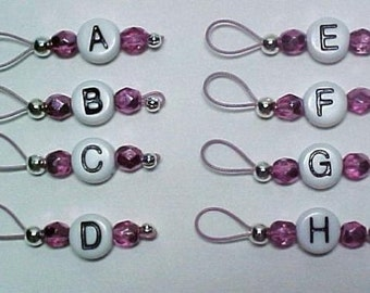 Stitch Markers -  Metallic Pink On Blush Pink Wire Lettered Markers - US 5 - Item No.  18