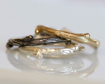 Willow twig ring, 14k gold and sterling silver stacking rings, twig stacking set, Made to order, your size