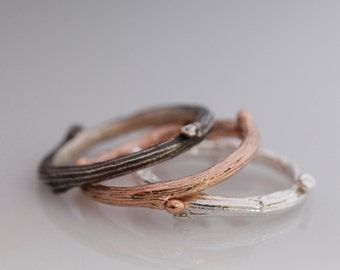 Willow twig ring, 14k rose gold and sterling silver stacking rings, twig stacking set, Made to order, your size