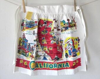 Vintage Apron California Souvenir 1940s