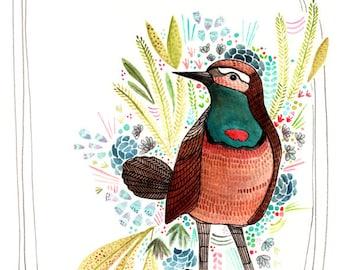 Art - Art Print - Watercolor Art Print - Watercolor Art - Print of Painting - Bird Art - Print of Bird - 8x10 Art Print - Brown Bird