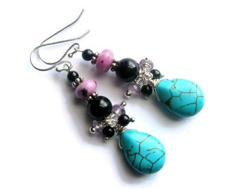 Turquoise Drop Earrings, Blue, Purple Jade, Black Onyx, Sterling Silver Gemstone Teardrop Dangles