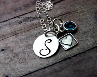 Handstamped jewelry-personalized necklace- Sterling silver-One disc-design stamp-swarovski crystal birthstone-perl
