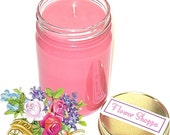 Flower Shoppe Mason Jar Candle Floral Scent 12 Oz Handmade