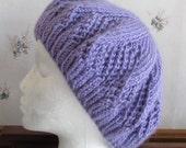 Hand Knit Adult Hat Lavender Tam Doily