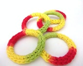 Cat Ferret Recycled Ring Toys Toy Rings Red Green Yellow Hot Pepper Colors