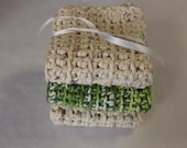Eco Friendly Chunky Crochet Dishclothes or Washcloths Cotton Set of 3