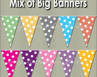 Printable PDF Big Banner Pennant Color Mix Party Pack pinks, yellows, purples, orange, blue, gray, green, banner making supplies bunting