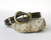 Men's Smooth Chocolate Brown or Black Leather Bracelet With Antiqued Brass or Antiqued Silver Hook Clasp