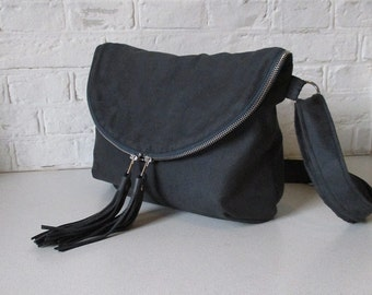 Slate Gray Day Traveler Bag in vegan suede, fold over cross body bag with leather tassels, ready to ship
