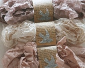 Seam Binding Ribbon - 18 YARDS - Crinkled - Winter Woolens - Light Beige - Pinkish Beige  ,  Rosy Beige - Shabby Ribbon , Card Making