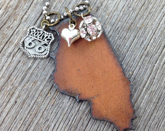 I Love ILLINOIS Necklace | Recycled Metal State Shape Pendant | Chicago Route 66 Heart Charms Rhinestones