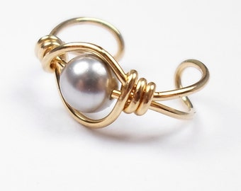 Ear Cuff 14k Gold Filled Swarovski Crystal Light Gray Pearl or your choice non pierced cartilage earring