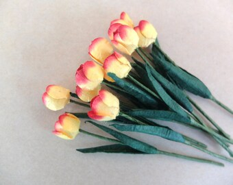 10 paper tulips - mulberry paper tulips - mulberry paper flowers