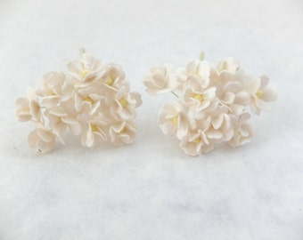 20 off white mulberry paper hydrangea - off white paper flowers