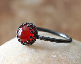 Oxidized Carnelian Ring in Sterling Silver, Crown Princess Gallery Setting Bezel Gemstone, Size 2 to 15, August Birthstone, Stacking Ring